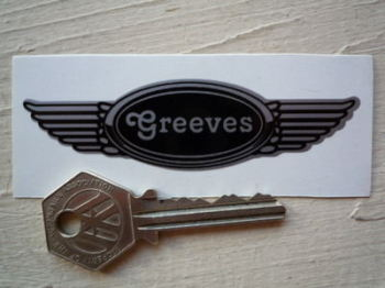 "Greeves Winged Helmet Sticker. 3.5""."