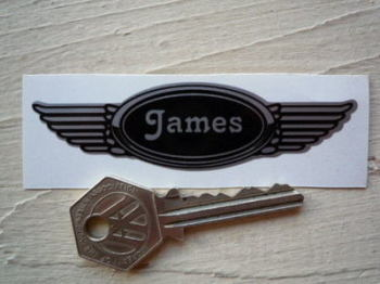"James Winged Helmet Sticker. 3.5""."