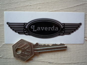 "Laverda Winged Helmet Sticker. 3.5""."