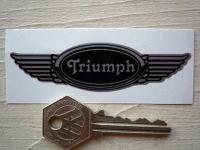 "Triumph Winged Helmet Sticker. 3.5""."