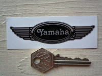 "Yamaha Winged Helmet Sticker. 3.5""."