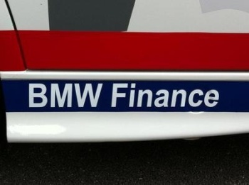 "BMW Finance White Cut Text Sticker. 13.5""."