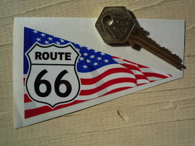 "Route 66 Travel Pennant Sticker. 4""."
