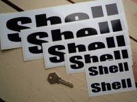 "Shell Black & White Rounded Text Stickers. 4"", 6"", 8"", 10"" or 12"" Pair."