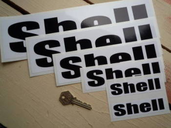 """Shell Black & White Rounded Text Stickers. 4"""", 6"""", 8"""", 10"""" or 12"""" Pair."""