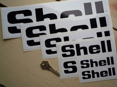 Shell Black & White Angular Text Stickers Pair. Various Sizes.