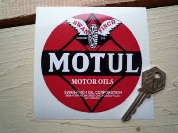 Motul Motor Oils Swan Finch Circular Sticker. 70mm or 100mm.