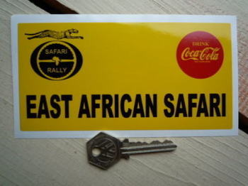 "East African Safari Oblong Rally Plate Sticker. 6""."
