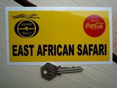 "East African Safari Oblong Rally Plate Sticker. 6""."