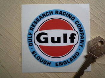 "Gulf Research Racing Company Slough Sticker. 2.75""."