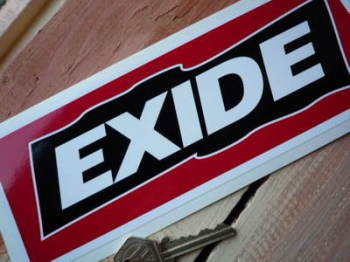 "Exide Red, Black & White Oblong Sticker. 9""."