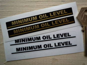 "Minimum Oil Level Indicator Stickers. 3.5"" Pair."