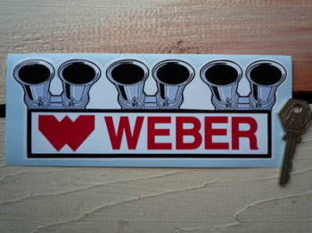 "Weber Carburetor Shaped Sticker. 8""."