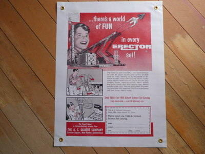 """Erector Set There's A World Of Fun Banner Art. Special Offer. 20"""" x 27""""."""