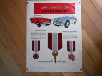 "Austin Healey You Invest In An Austin Healey Banner Art. 22"" x 29""."