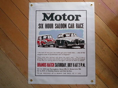 "Brands Hatch The Motor Saloon Car Race Banner Art. 21"" x 27""."