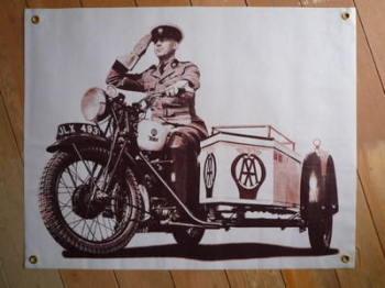 "BSA AA Sidecar Banner Art. 28"" x 22""."
