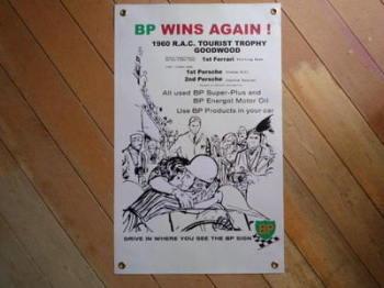 """BP 1960 RAC Tourist Trophy Goodwood Banner Art. 17"""" x 27""""."""