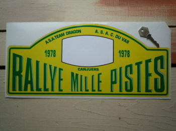 "Rallye Mille Pistes 1978 Rally Plate Sticker. 15""."