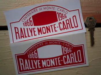 "Monte-Carlo Rallye 1866 - 1966 Centenary Rally Plate Sticker. 6""."