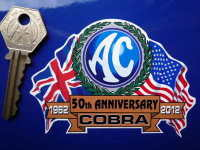 AC Cobra 50th Anniversary. Flag & Scroll Sticker. 3.75