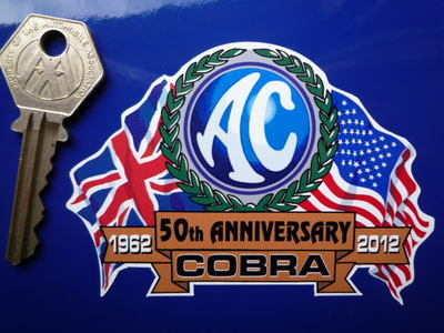 "AC Cobra 50th Anniversary. Flag & Scroll Sticker. 3.75""."