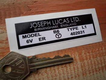 Lucas Joseph Lucas Coil Sticker. B6 6V. X.