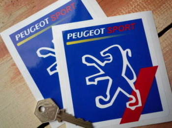 "Peugeot Sport Square White Outline Lion Stickers. 4"" Pair."
