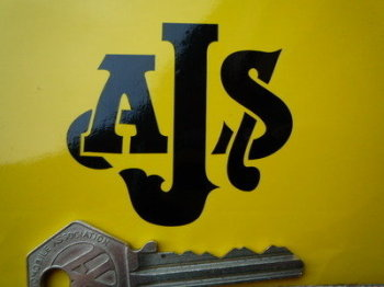 "AJS Cut To Shape Black Stickers. 2.25"" Pair."