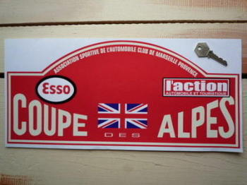 "Coupe Des Alpes. Red Rally Plate Sticker. 16""."