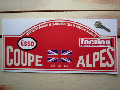 Coupe Des Alpes. Red Rally Plate Sticker. 16