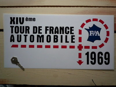 tour de france automobile 1969 rally plate style sticker 16. Black Bedroom Furniture Sets. Home Design Ideas