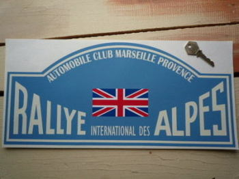 "Rallye International Des Alpes Rally Plate Style Sticker. 6""."