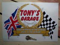 PERSONALISED Workshop Garage Flag & Scroll Sticker. 12