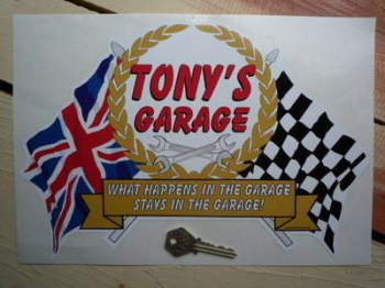 "PERSONALISED Workshop Garage Flag & Scroll Sticker. 12""."