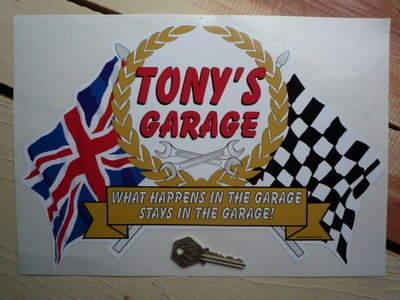 "PERSONALISED Workshop Garage Flag & Scroll Sticker. 12""."