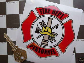 "Fire Dept. Personnel Window Badge Sticker. Static Cling. 4""."