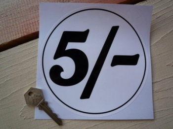 "5 Shillings Petrol Pump Sticker. 6""."
