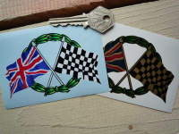 "Crossed Union Jack & Chequered Flag with Garland Sticker. 4""."