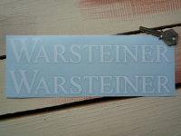 """Warsteiner White Cut Text Stickers. 10"""" Pair."""