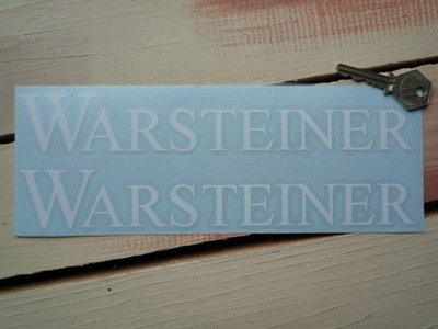 "Warsteiner White Cut Text Stickers. 10"" Pair."