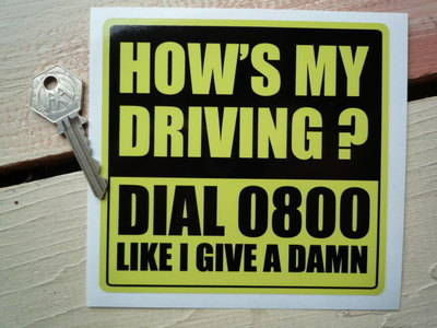 Call 0800 funny race car sticker Hows my driving