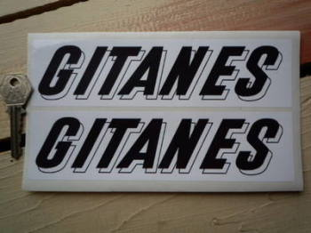 "Gitanes French Cigarette Oblong Black & White 3D Text Stickers. 7.5"" Pair."