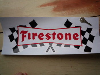 "Firestone Chequered Flag Sticker. 18""."