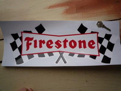 """Firestone Chequered Flag Sticker. 18""""."""