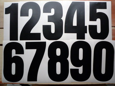 Racing Numbers Stickers. Aurora Font. Various Sizes.