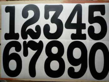 A Racing Number Sticker. Typewriter Font. Various Sizes.