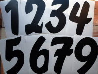 Racing Numbers Stickers. Brush Font. Various Sizes.