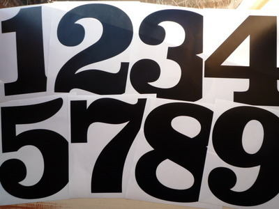 Racing Numbers Stickers. Clarendon Font. Various Sizes.