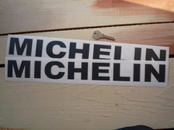"Michelin Cut Vinyl Plain Text Stickers. 17"" Pair."